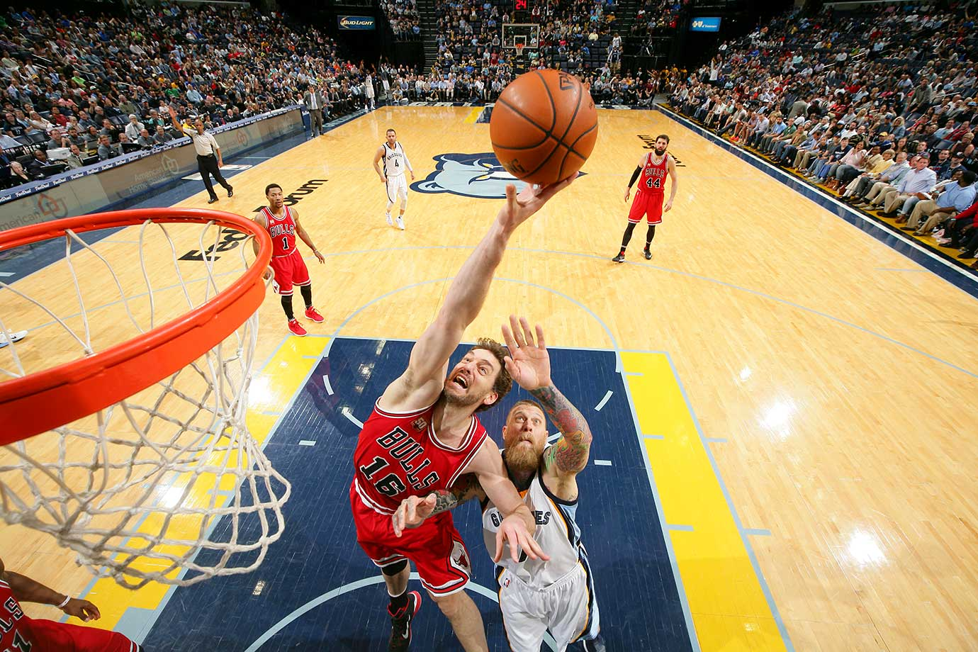 Pau Gasol of the Chicago Bulls goes up for a rebound against the Memphis Grizzlies.