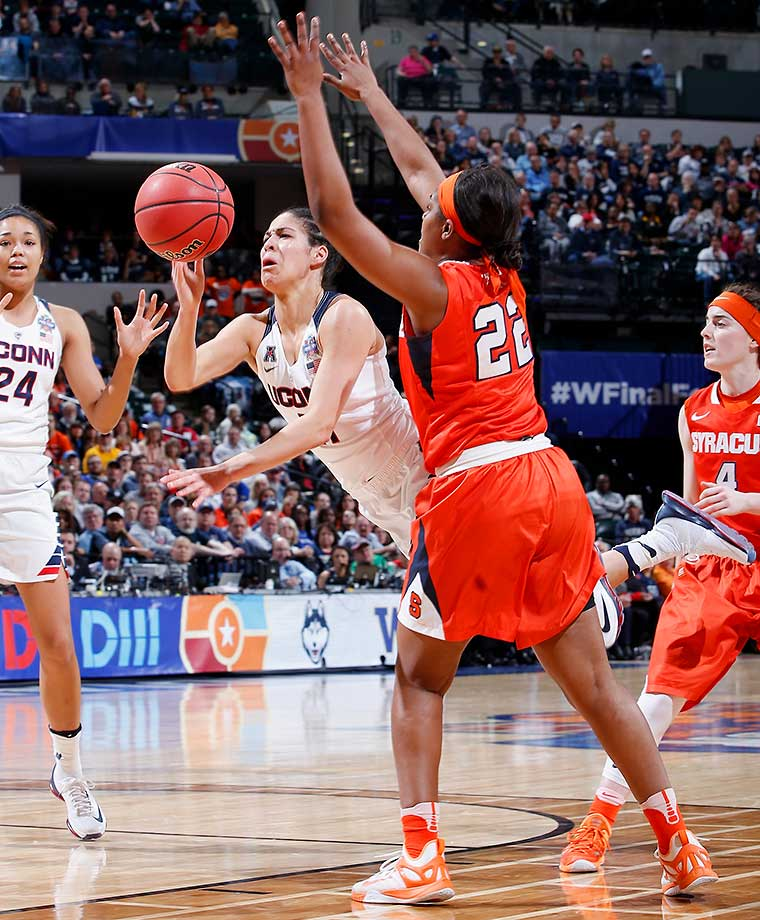 Kia Nurse and UConn led 9-0 before Syracuse scored and the Huskies took a 50-23 lead in at halftime.