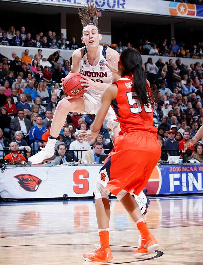 Breanna Stewart, rebounding here against Bria Day of Syracuse, was named the Most Outstanding Player of the NCAA tournament for a fourth time.