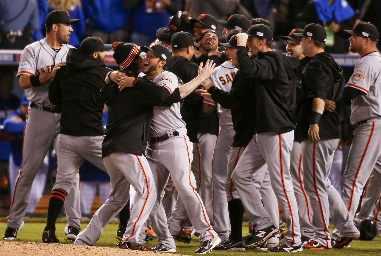 "The Giants were dubbed a ""Band of Misfits"" in 2010 when they defeated Texas to win the franchise's first title since 1954 in New York. Two years later, they swept Detroit for another championship. And now they're the first team to win three in a five-year span since the Yankees won four rings from 1996 to 2000. (Text credit: AP)"