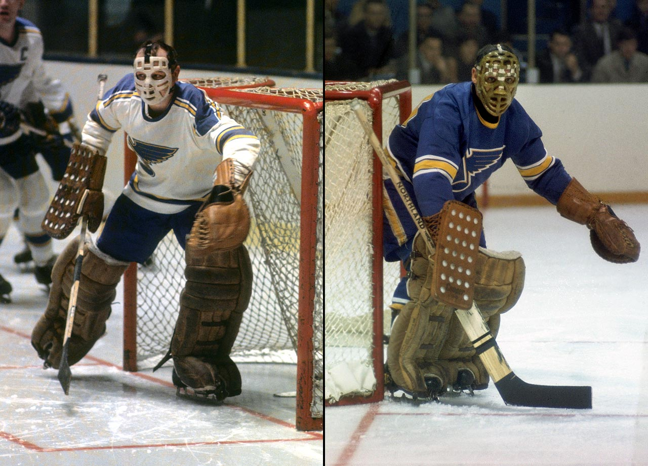 Though in the twilight of their careers by the time they manned the Blues' net together for two seasons, these legendary Hall of Famers backstopped an expansion team to consecutive appearances in the Stanley Cup Final. (St. Louis made three in a row, starting in 1968, with Hall winning the Conn Smythe Trophy.) The duo shared the Vezina in 1969 after combining for a 2.07 goals-against average, the lowest the league had seen in 13 years, and 13 shutouts.