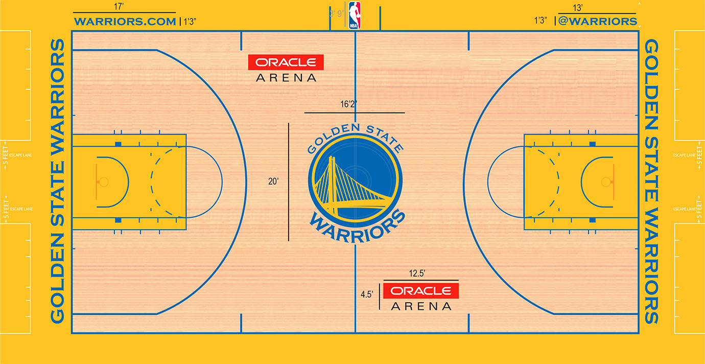 "The official California golden yellow shines on the court, in the frame and in the key. The use of Warriors royal blue for all lines helps build on the team branding and color scheme. But what really propels the Golden State court to the upper echelons of the NBA is one of the best logos in all of the NBA—complete with its heavy use of blue that stands well on the light stain and contrasts the golden yellow. The Warriors can switch to ""The City"" logo at the center on a whim, giving a classic look or a true old-school vibe whenever needed."