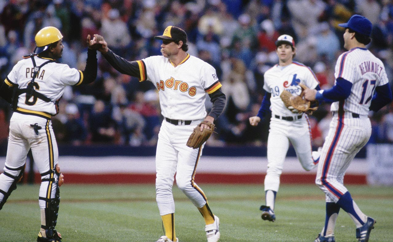 Goose Gossage is congratulated by teammates Tony Pena, Keith Hernandez and Tim Wallach after pitching a scoreless ninth inning to earn a save.