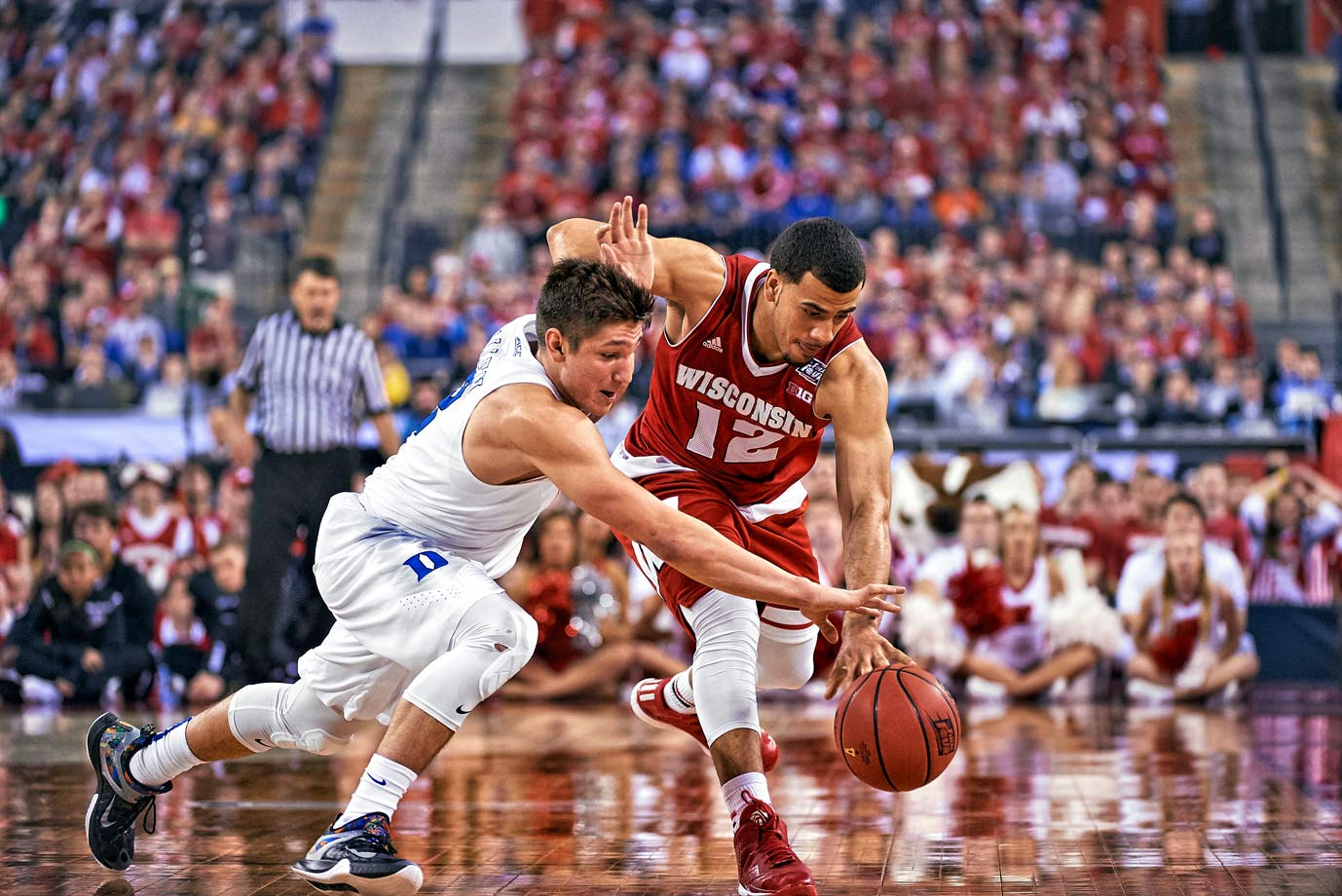 Guards Traevon Jackson and Grayson Allen race for a loose ball. Allen had the better day of the back-up guards, scoring 16 points on 5-8 shooting.