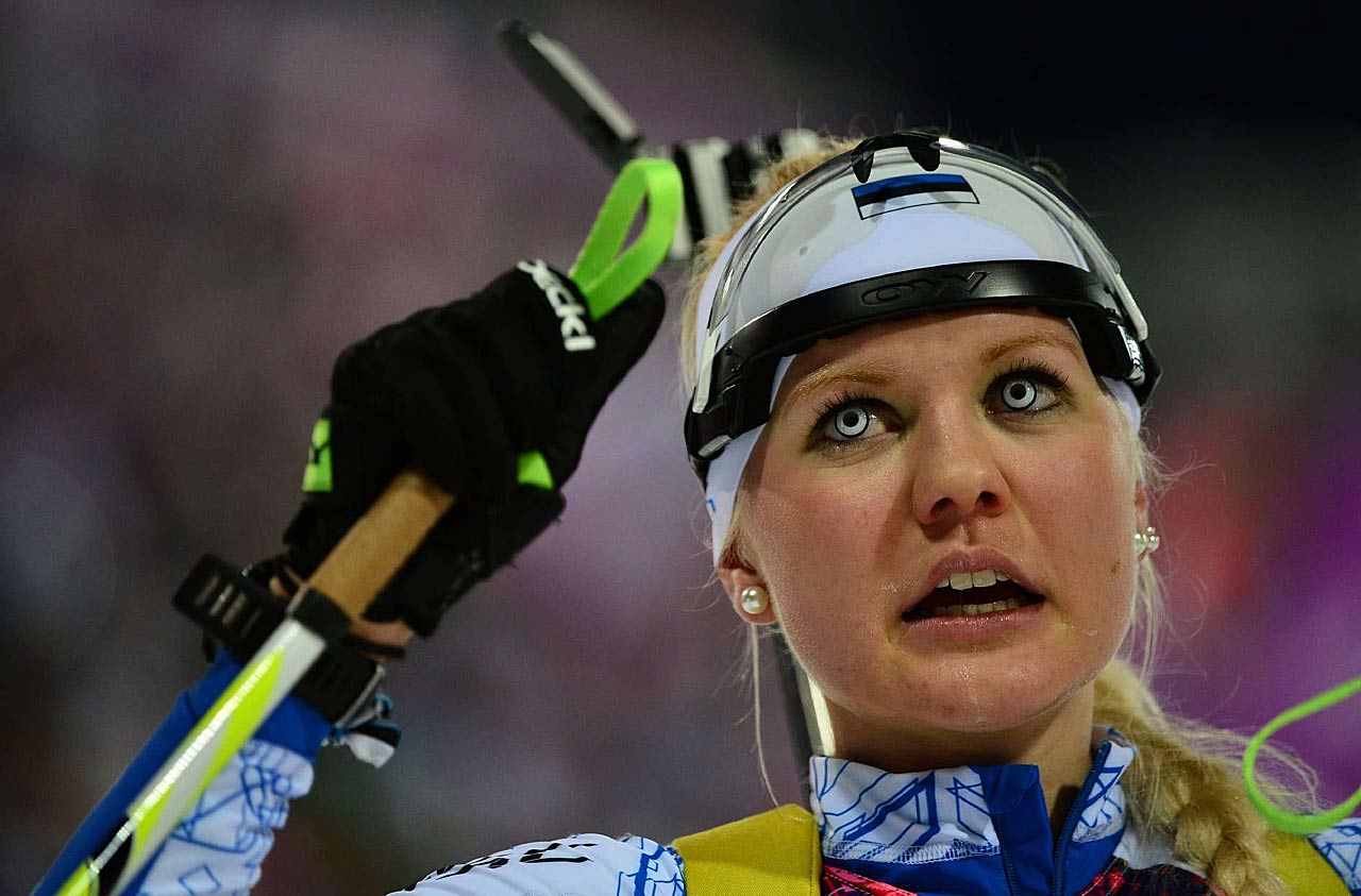 Grete Gaim of Estonia reacts after competing in the 7.5 km Sprint.