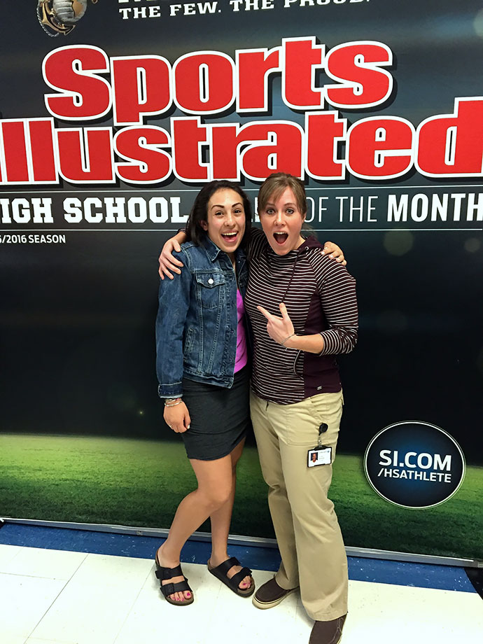 Sophia poses with Tiff Dodge, her American Sign Language teacher at Bingham High. Sophia was inspired to learn ASL after encountering deaf young aspiring riders at the track where she teaches BMX clinics last year.