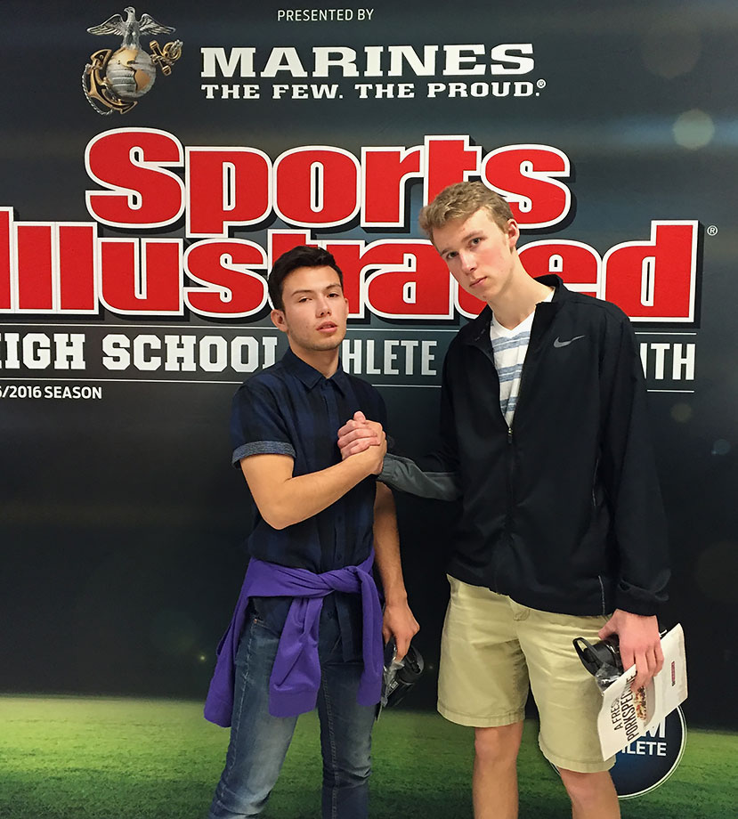 """Bingham High students pose for the """"cover"""" of Sports Illustrated at the event to honor their classmate, Sophia Foresta."""
