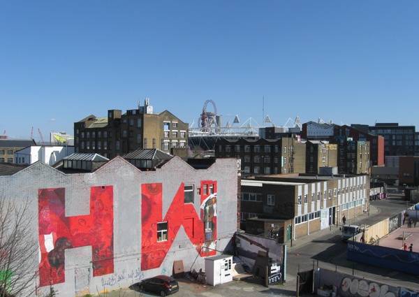 Hackney Wick's former industrial center sits in front of the Olympic Park.