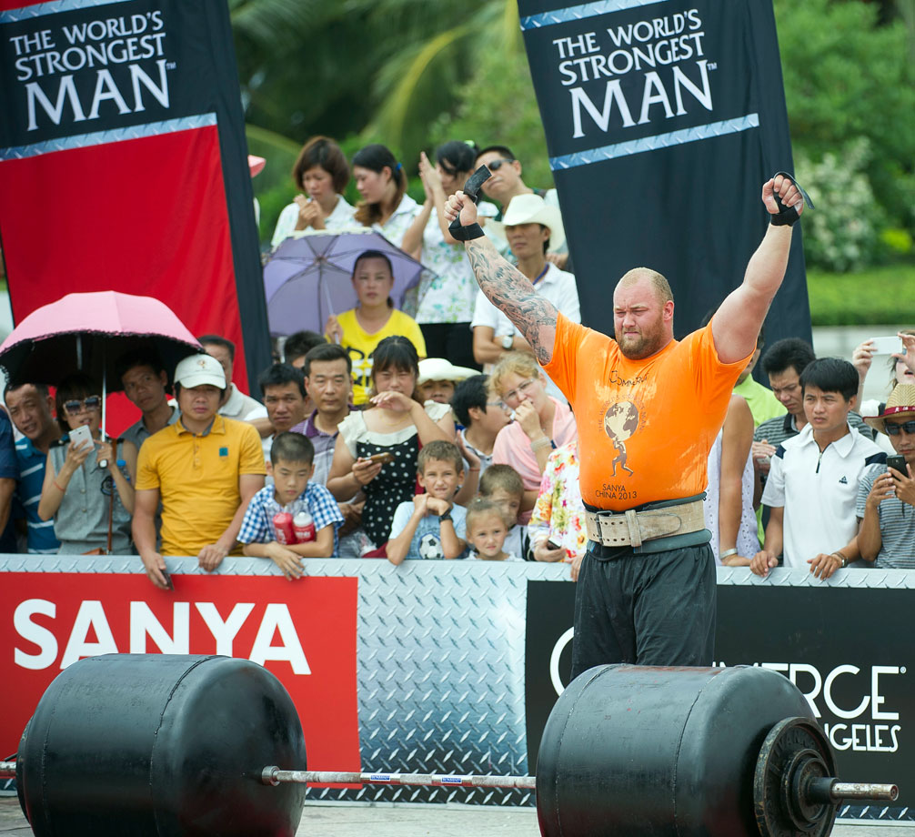 Hafthor Bjornsson of Iceland competes at the Deadlift for Max event during the World's Strongest Man competition at Yalong Bay Cultural Square on Aug. 24, 2013 in Hainan Island, China.