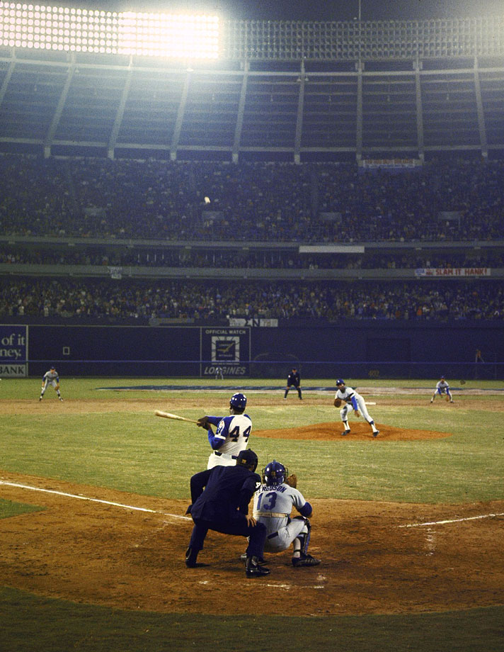 On April 8, 1974, Atlanta Fulton-County Stadium was packed with a record 53,775 fans as Hank Aaron hit career home run No. 715 in the fourth inning off of Los Angeles pitcher Al Downing, surpassing Babe Ruth as the game's all-time leader in home runs. (Posted April 8 -- 40th anniversary)