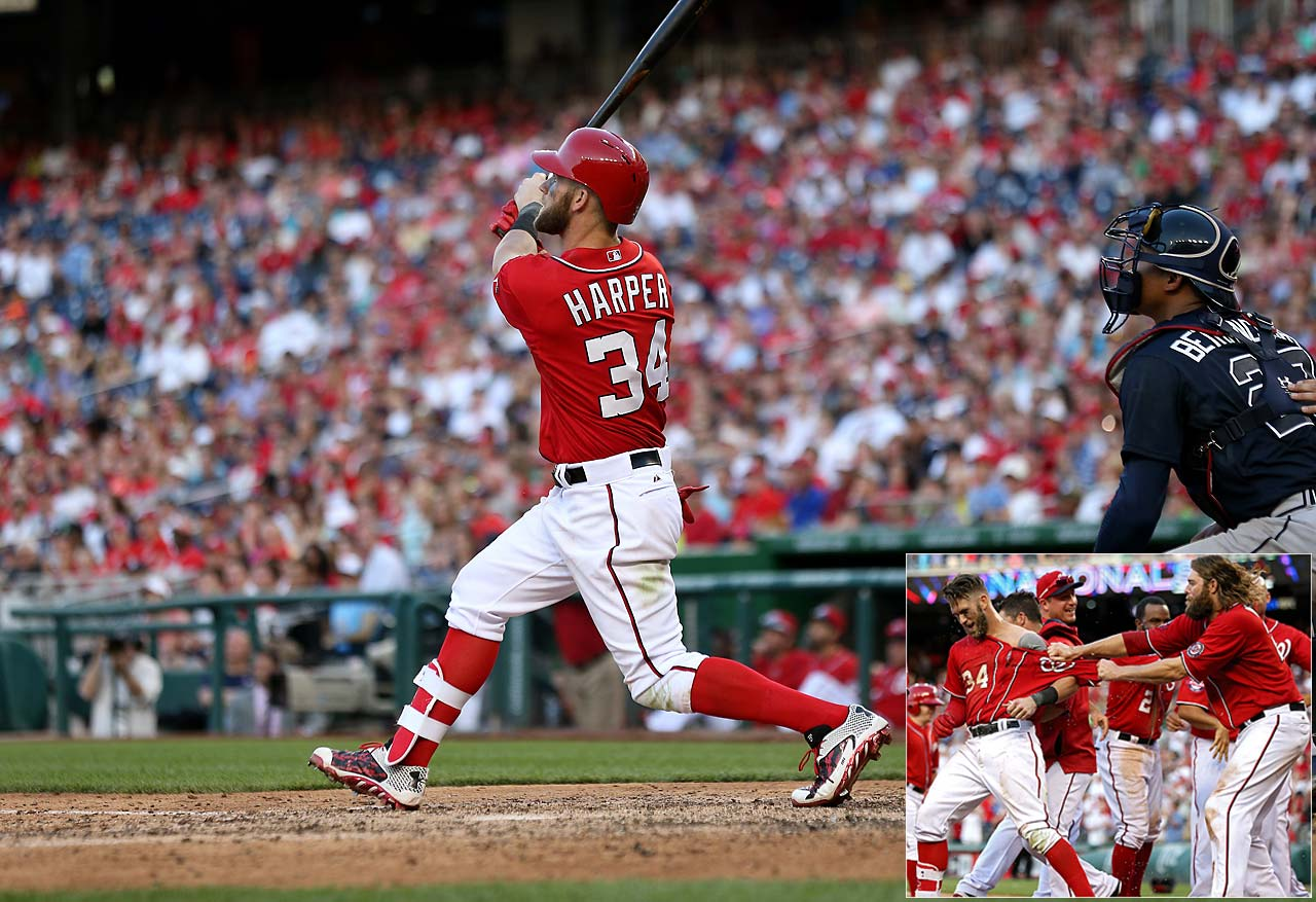 Bryce Harper watches his two-run walk-off homer in the ninth inning of an 8-6 win over Atlanta on May 9.