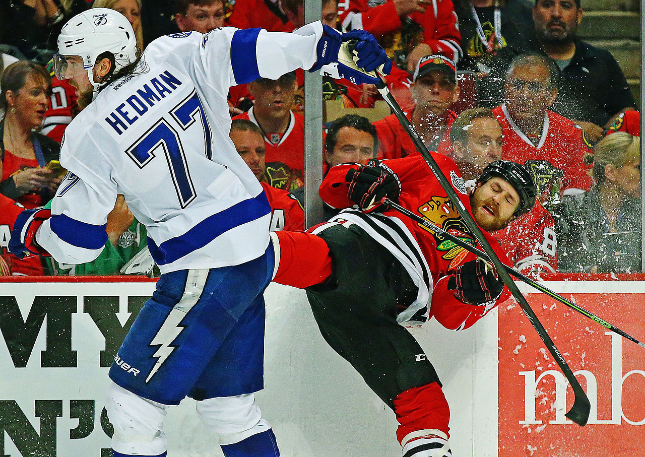 Victor Hedman had two assists for Tampa Bay while playing stout defense on Chicago's top forwards. (Text credit: AP)