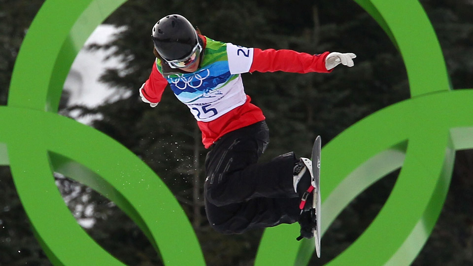 Helene Olafsen of Norway competes during the Ladies' Snowboard cross on day 5 of the Vancouver 2010 Winter Olympics