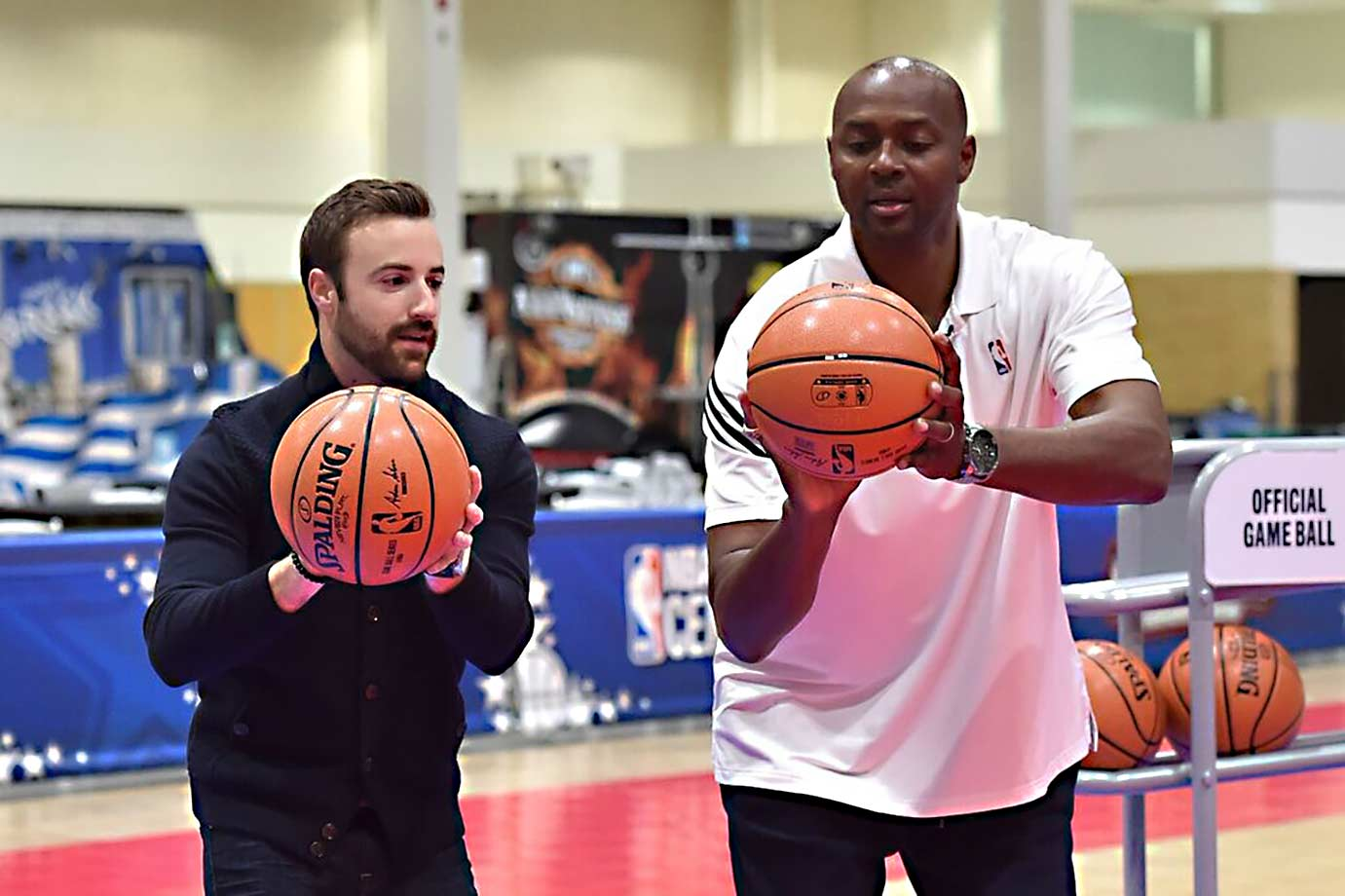 Getting shooting tips from Horace Grant. You can tell by looking at my ball I'm not doing very well.