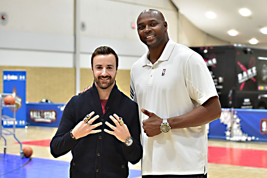 Some pretty impressive hardware on four-time NBA champ Horace Grant's fingers, there (Chicago Bulls, Los Angeles Lakers). I didn't want to tell him I had five Indy 500 starter rings…I mean, who's counting?!