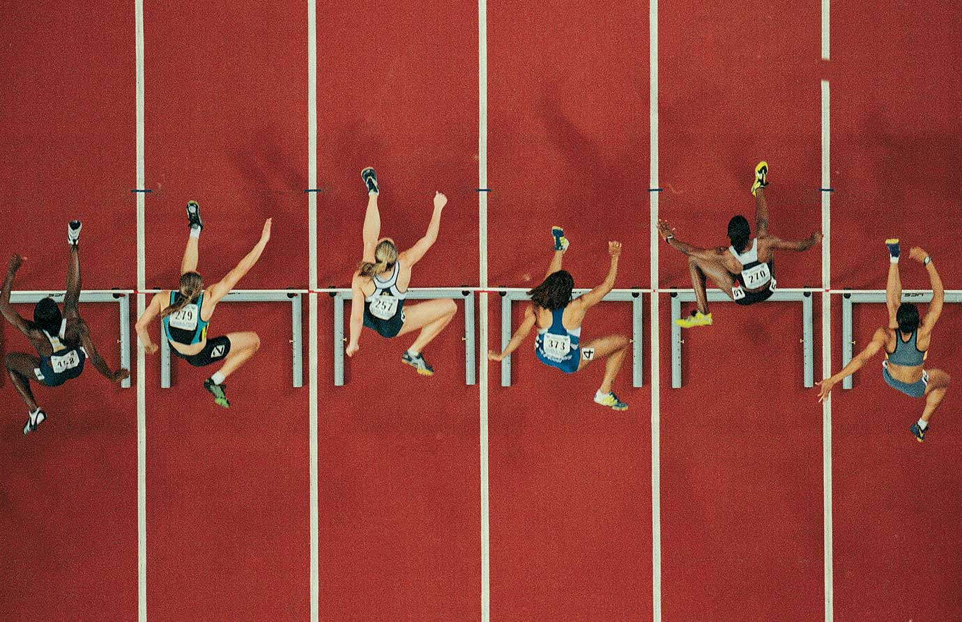 One of the semifinal heats of the 60-meter hurdles at the 1999 USA Indoor Track & Field Championships in Atlanta.