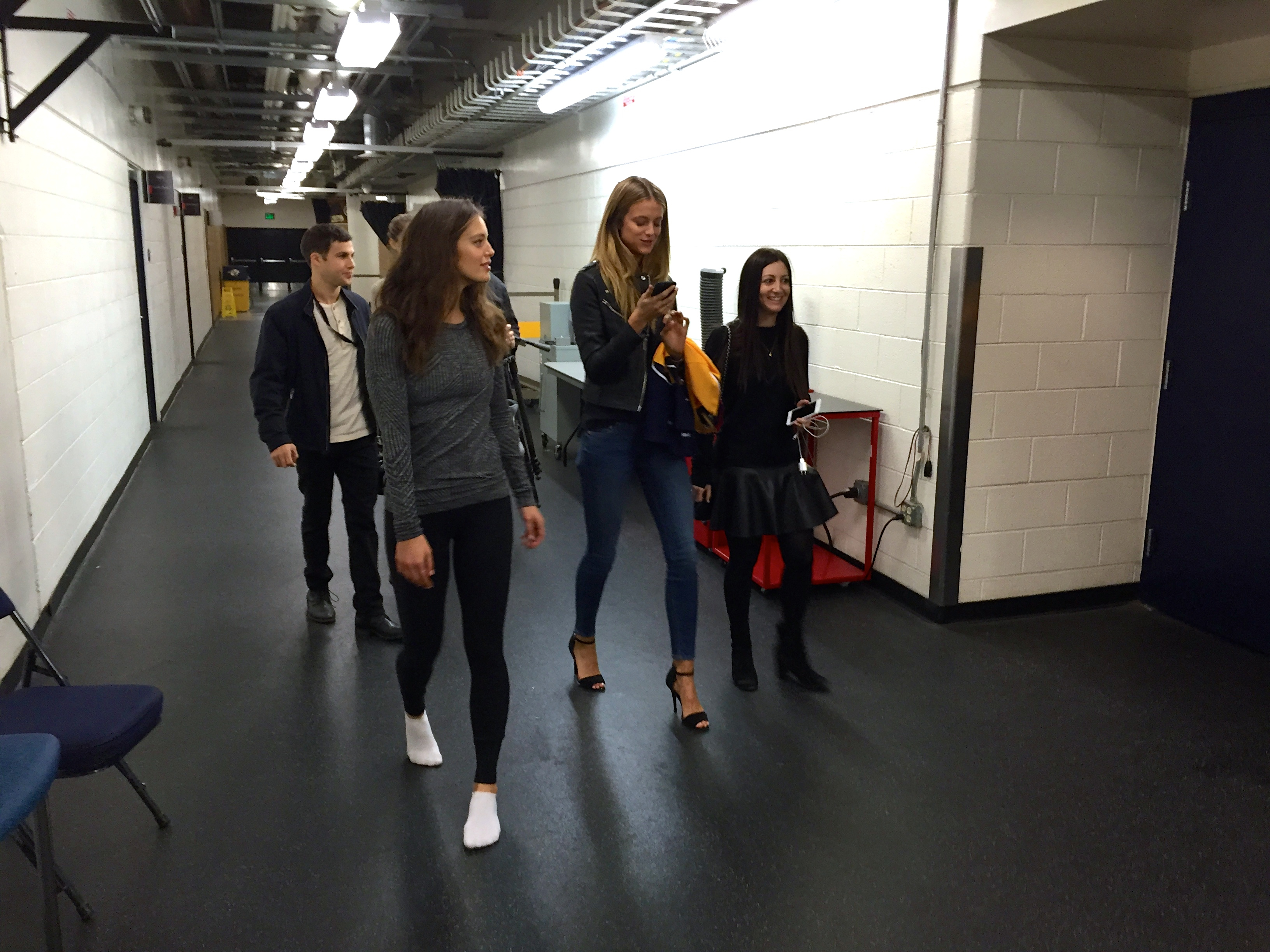 Emily DiDonato and Kate Bock enter Bridgestone Arena.