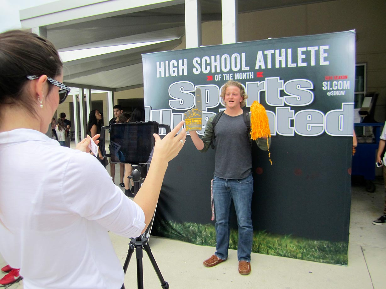 The SI photo booth was a popular stop during Timber Creek High students'  lunch break.