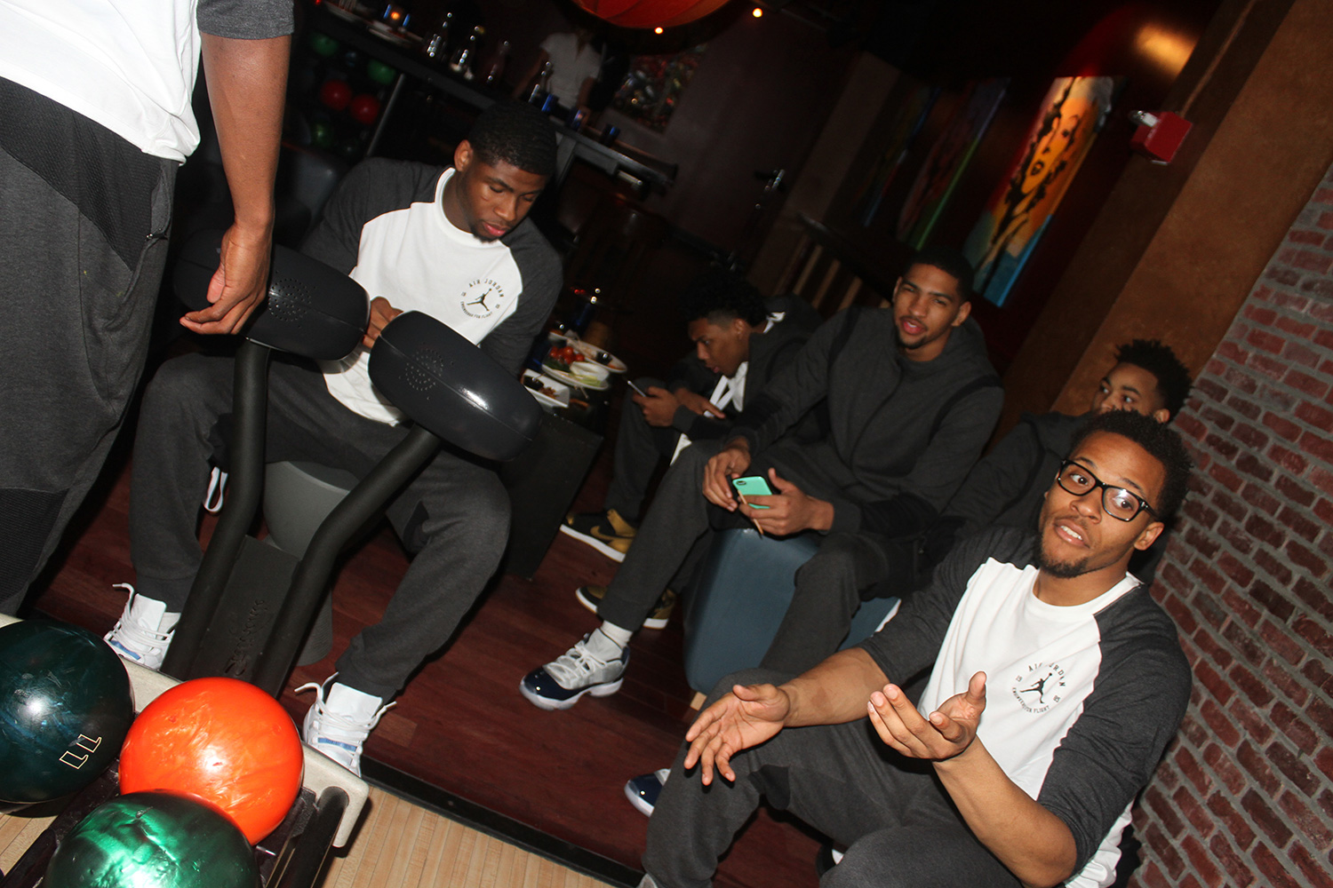 The first event for the week was a trip to the Lucky Strike bowling alley near Times Square. Inside the players were greeted by Jordan Brand athletes Victor Oladipo, Andre Drummond, Greg Monroe and reigning WNBA MVP Maya Moore.