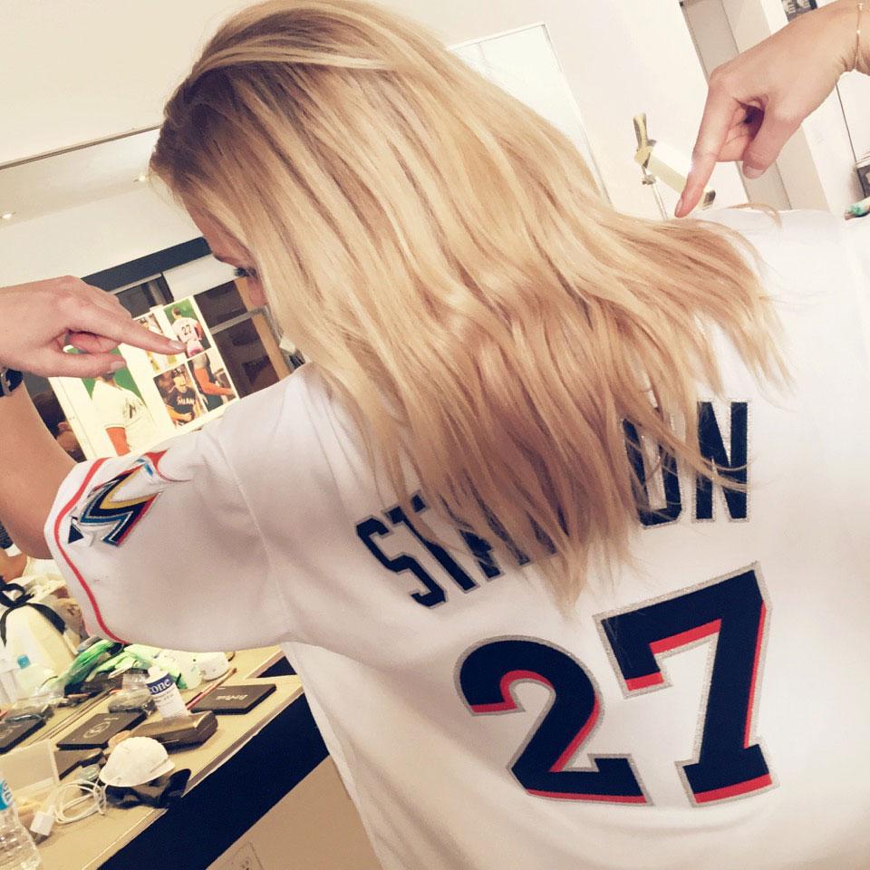 Erin Heatherton wears Giancarlo Stanton's jersey