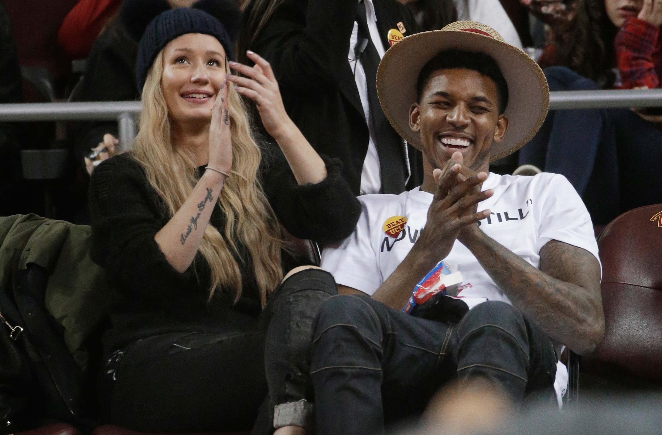 Iggy Azalea and boyfriend Nick Young at a 2015 game between UCLA and Southern California in Los Angeles.