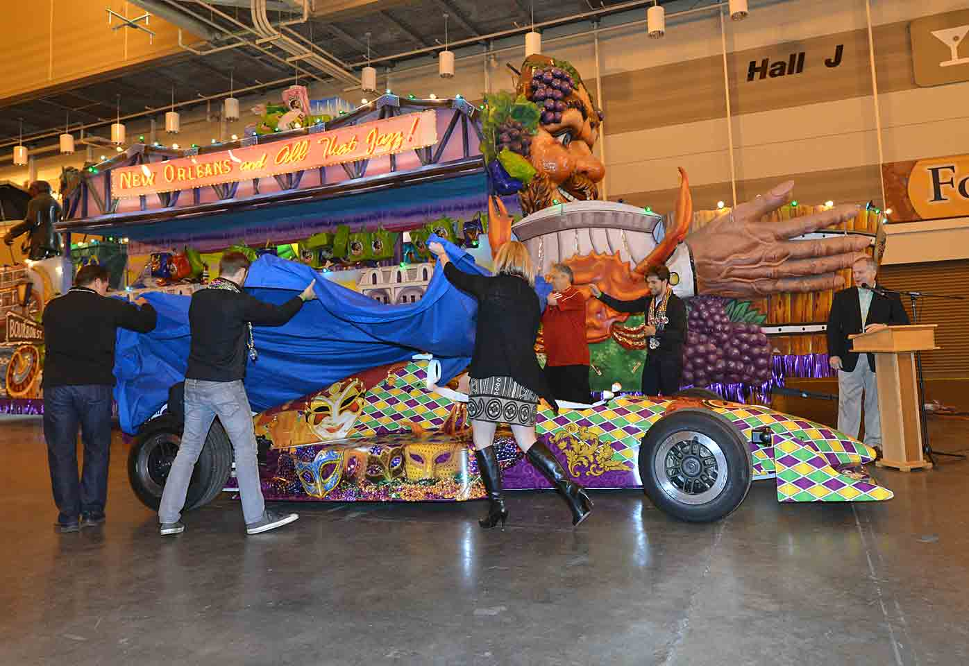 Unveiling the super cool Mardi-Gras themed two-seater that led the IndyCar contingent in the parade.