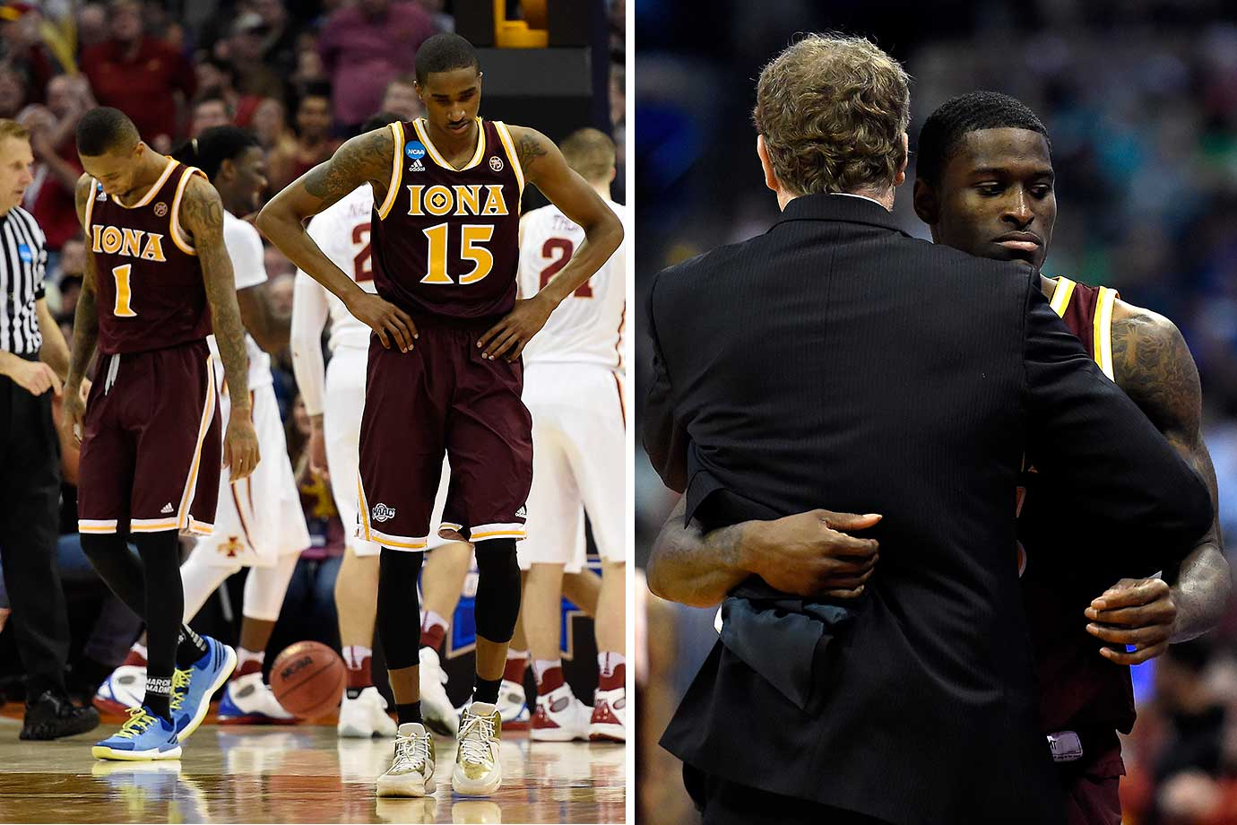 Isaiah Williams (1) and Deyshonee Much (15) react to falling behind big to Iowa State, followed by a sad A.J. English hugging coach Tim Cluess late in the 94-81 loss.