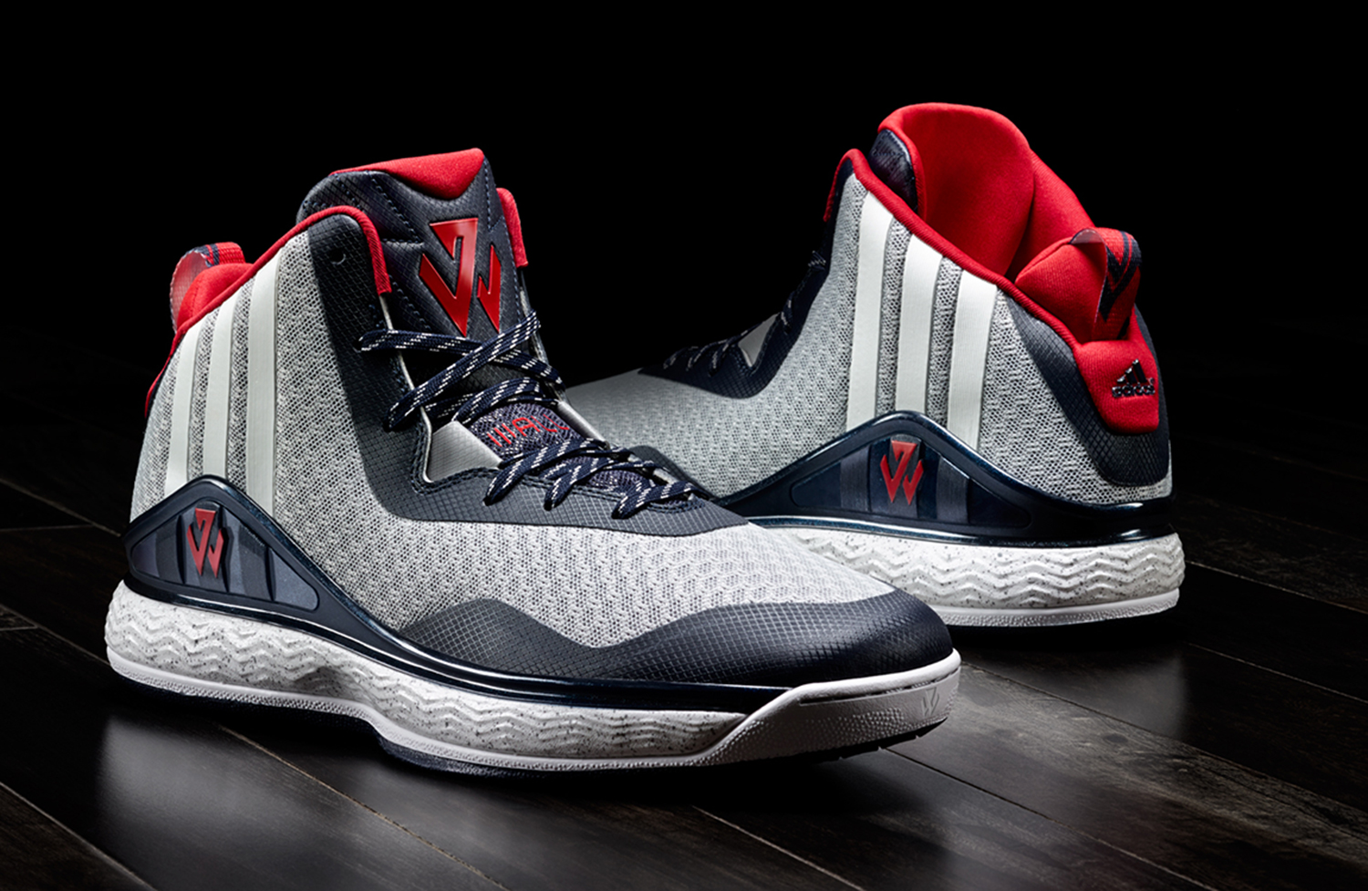 """The first signature shoe for the Washington Wizards star comes with some understated style. The JW logo plays through the shoe and the U.S. map on the sole with """"Wall"""" written across the left and right shoe adds personalized touches. The technology that includes an air mesh textile upper with overlays help the materials show off a mix of colors that work on or off the court."""