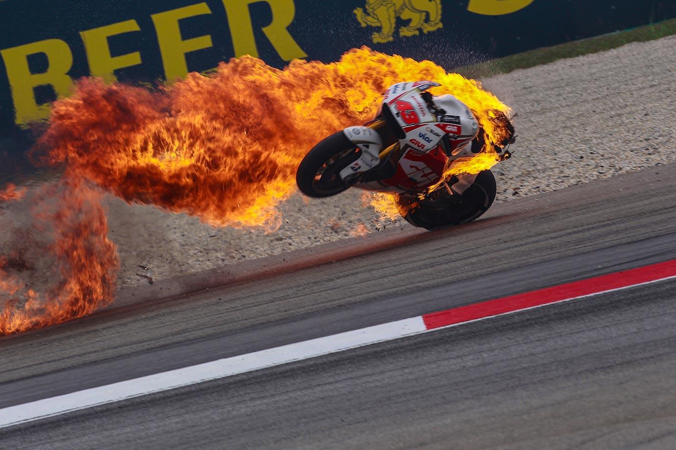 Jack Miller's Honda bike bursts into flames at Sepang Circuit in Kuala Lumpur, Malaysia.