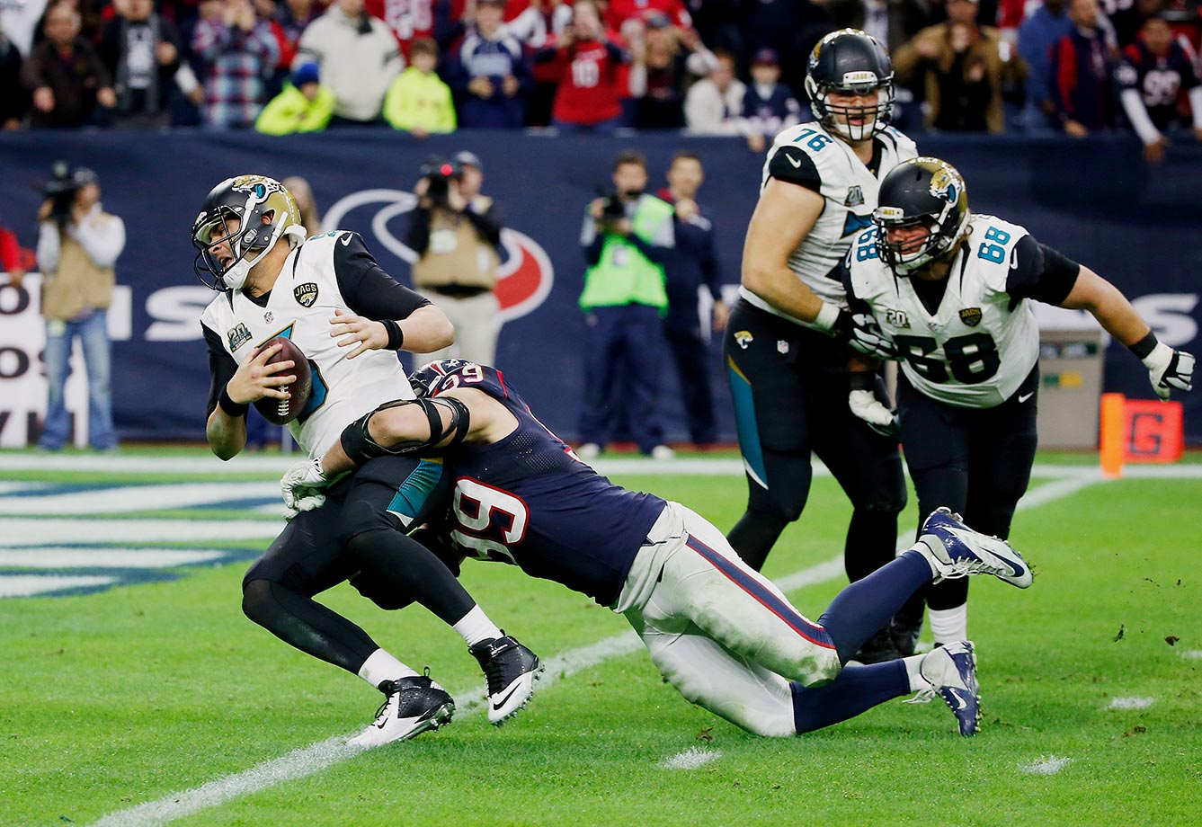 The Jaguars offensive line allowed a league-high 71 sacks last season – 13 more sacks than any other team. Some opposing waterboys were even able to pad their sacks stats. Speaking of sacks – they won't be getting any from No. 3 overall pick DE Dante Fowler, as he blew his knee out in his very first Jaguars practice.