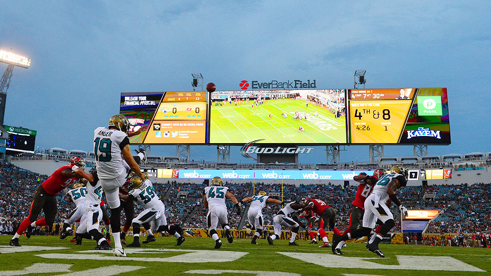 Jacksonville spent $63 million to renovate EverBank Field, including the largest single video boards anywhere at over 21,700 square feet.