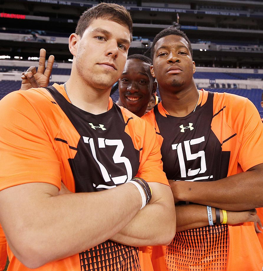 Jameis Winston of Florida State and Bryce Petty of Baylor get photobombed at the 2015 NFL Scouting Combine.