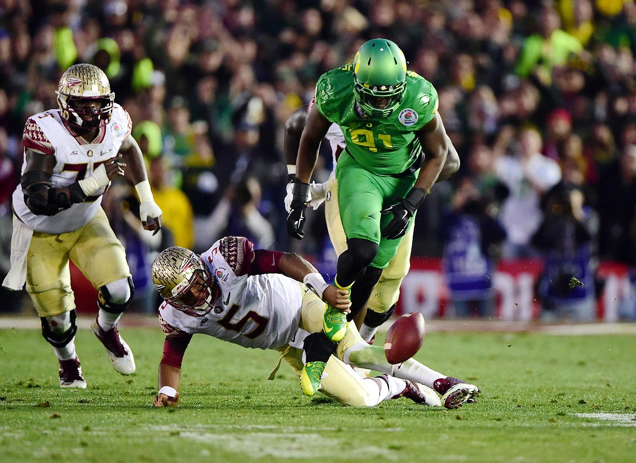 Winston's fumble bounced into Tony Washington's arms and the defensive end went 58 yards for a score.