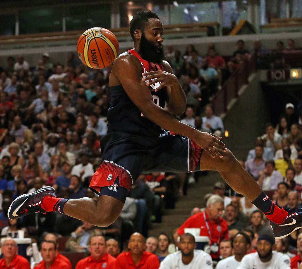 This is the point of the exercise where it becomes clear Team USA boasts an embarrassment of riches. The 2015 MVP runner-up, a player so skilled he carried an injury-plagued Rockets team to 56 wins and the West finals, is possibly the fifth-most important member of USA's projected starting five. Harden grew from a bit player in London 2012 to a leading scorer in Spain 2014, but he's likely to revert to being a complementary player in 2016 if everyone else is healthy. In that role, he should be an absolute killer, as his foul-drawing ability, three-point range and comfort in the open court will mean nightmares for opposing coaches. SI.com would start him at two guard alongside Curry.