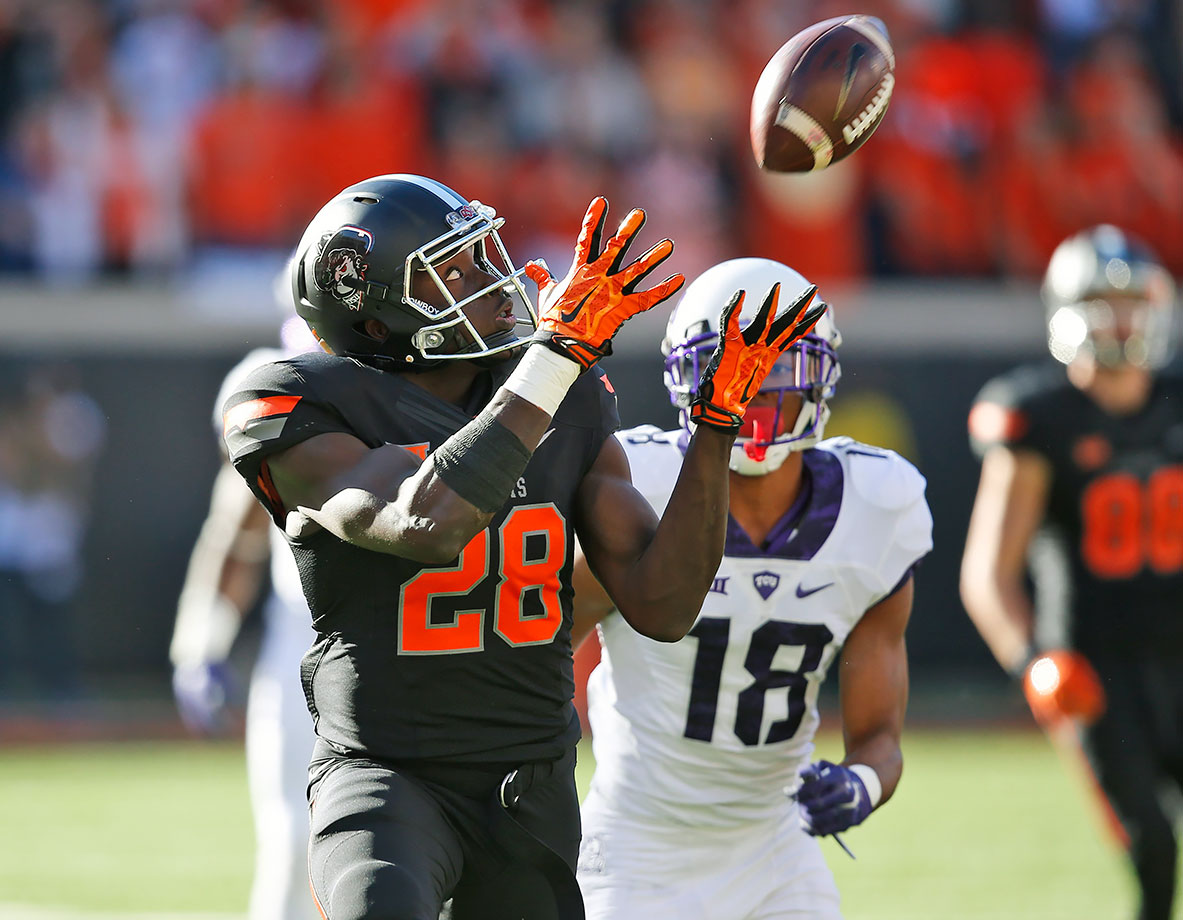 Oklahoma State's top receiver broke out last year, topping 1,000 receiving yards and recording 10 touchdowns. Against Texas Tech, he had four receptions for 200 yards and two touchdowns, including a 75-yard score. Washington was named second-team All-Big 12 last year and should get a much brighter spotlight this fall now that Josh Doctson and Corey Coleman have left the conference.