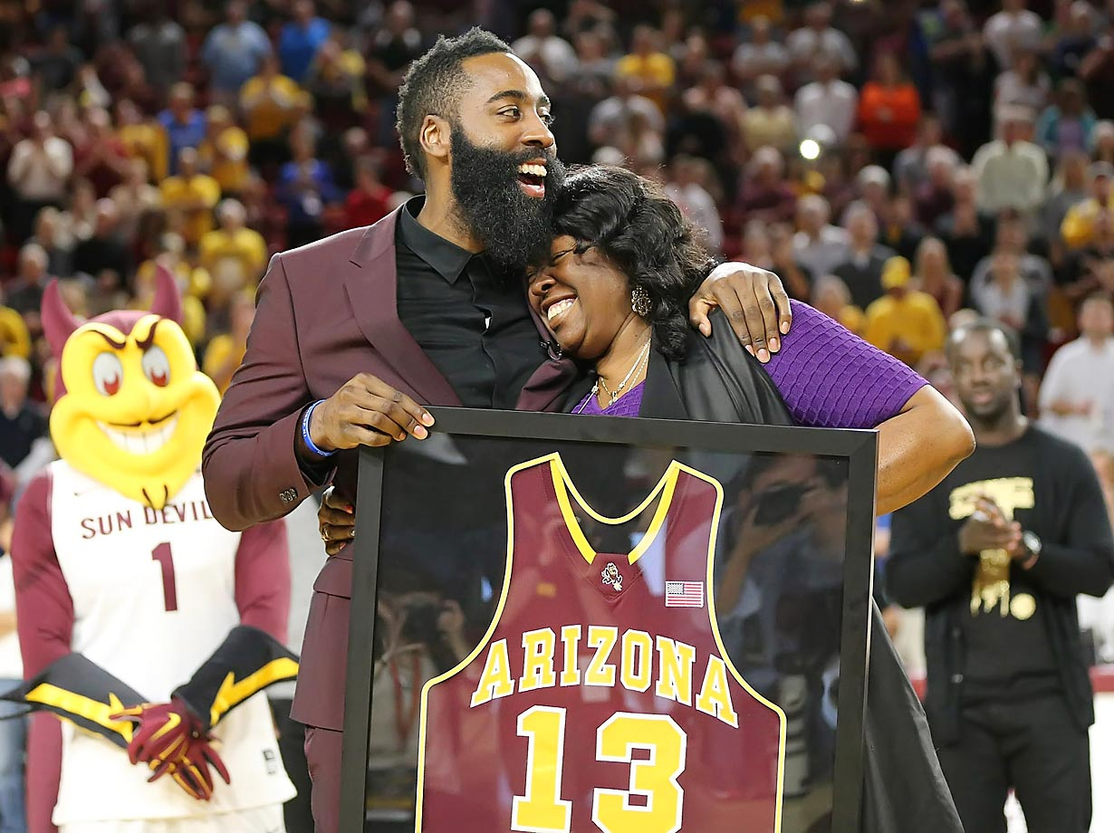 James Harden at Arizona State during his jersey retirement at ASU's Wells Fargo Arena.