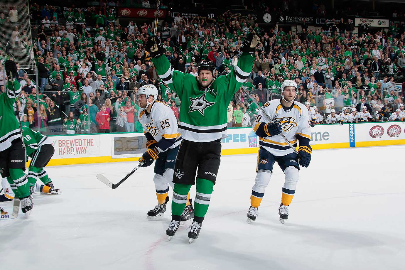 Sure, Stars sniper Benn claimed the Art Ross Trophy with the lowest point total in a non-lockout year since Stan Mikita's 87 points in 1967-68, which was a 74-game season, by the way. But how he did it will go down in history. Trailing John Tavares of the Islanders by three points heading into the regular season finale with Nashville, Benn scored three times, then clinched the title with an assist on a Cody Eakin tally with just 8.5 seconds remaining in regulation as Dallas won, 4-1.
