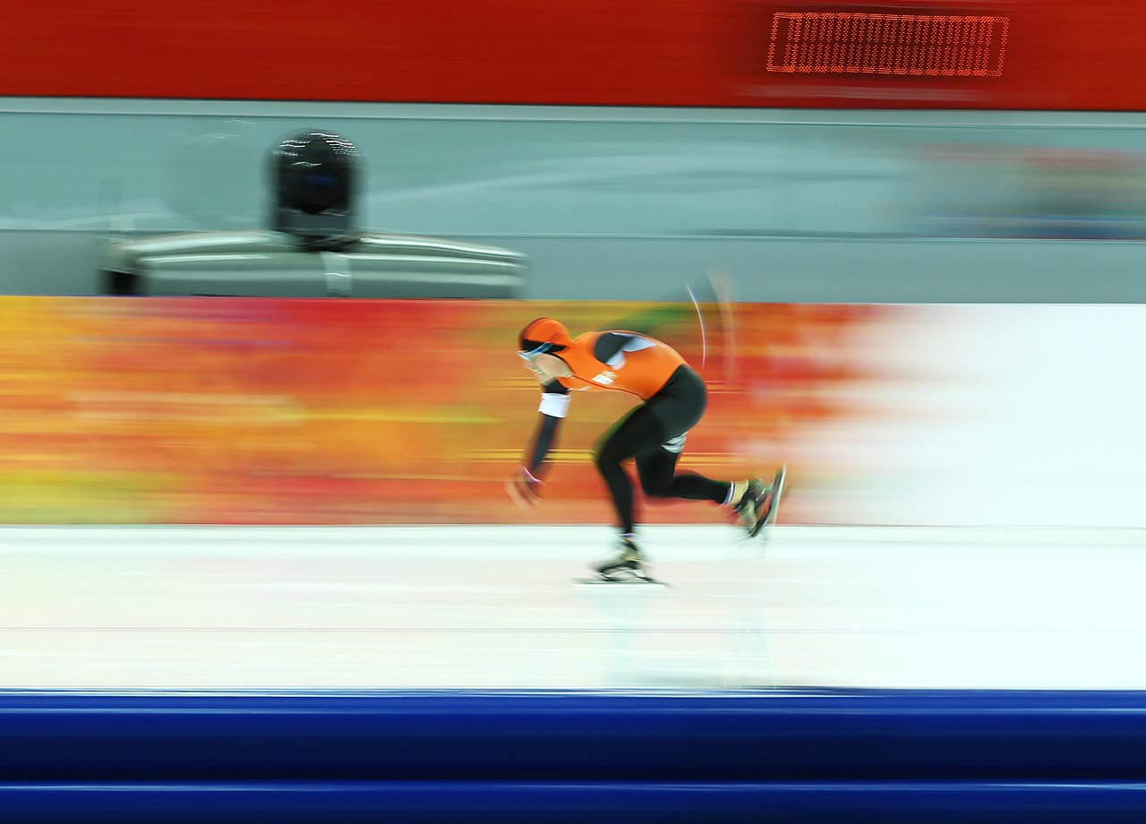 Jan Smeekens of the Netherlands competes during the 500 m Speed Skating event.