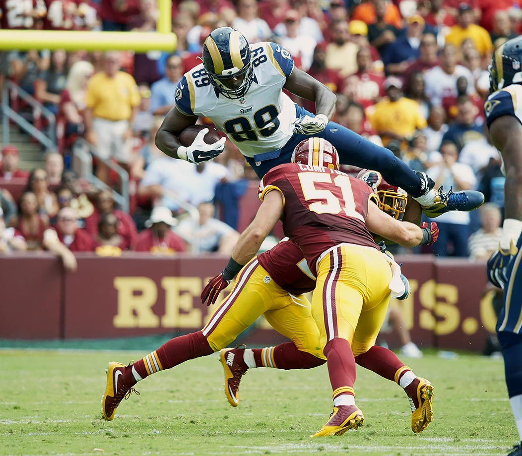 The Rams cut veteran tight end Jared Cook after his third season in St. Louis. Cook is entering his eight season in the NFL and played with the Titans for four years before going to St. Louis. 2015 was the first year since he was a rookie in 2009 that Cook failed to record a touchdown.