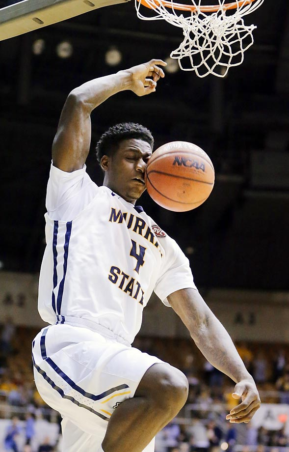 Murray State forward Jarvis Williams dunks against Morehead State.