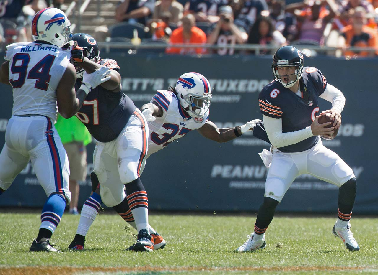 Jay Cutler threw for 349 yards and two touchdowns but was also intercepted twice in an overtime loss to Buffalo.