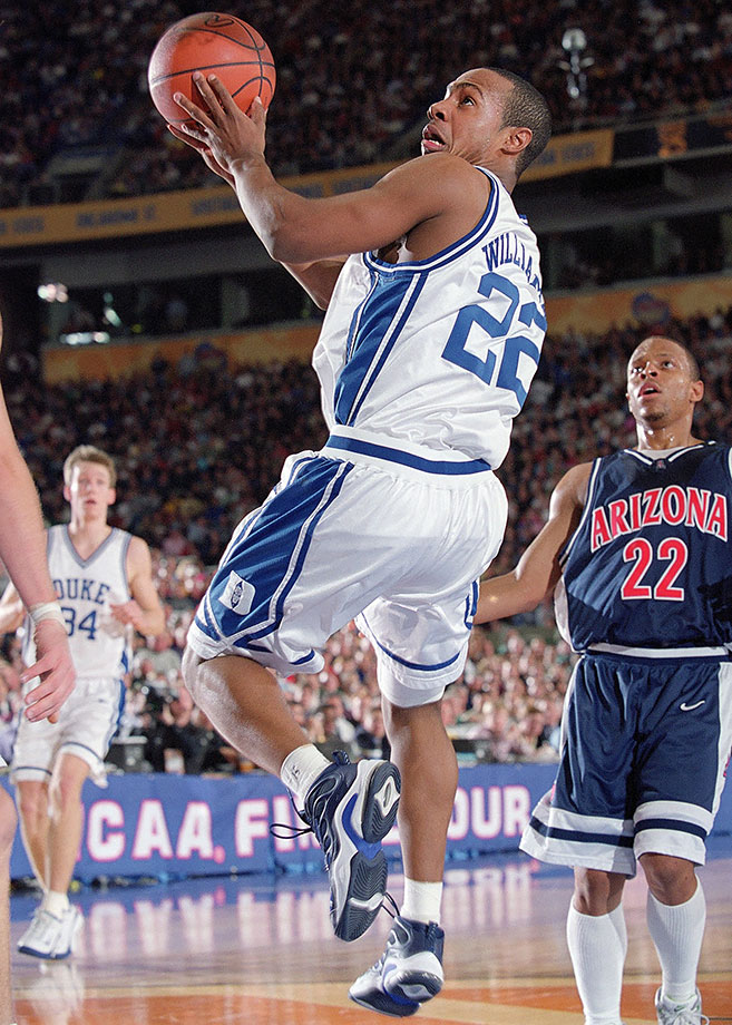 In the 2000-01 season Williams became the first Duke player to lead the ACC in scoring since Danny Ferry in 1989 as he led the Blue Devils to the national championship. The following year Williams won the Naismith and John Wooden award, and his .880 win percentage in games started is the second best in Duke's illustrious history among players with 100 or more career starts.