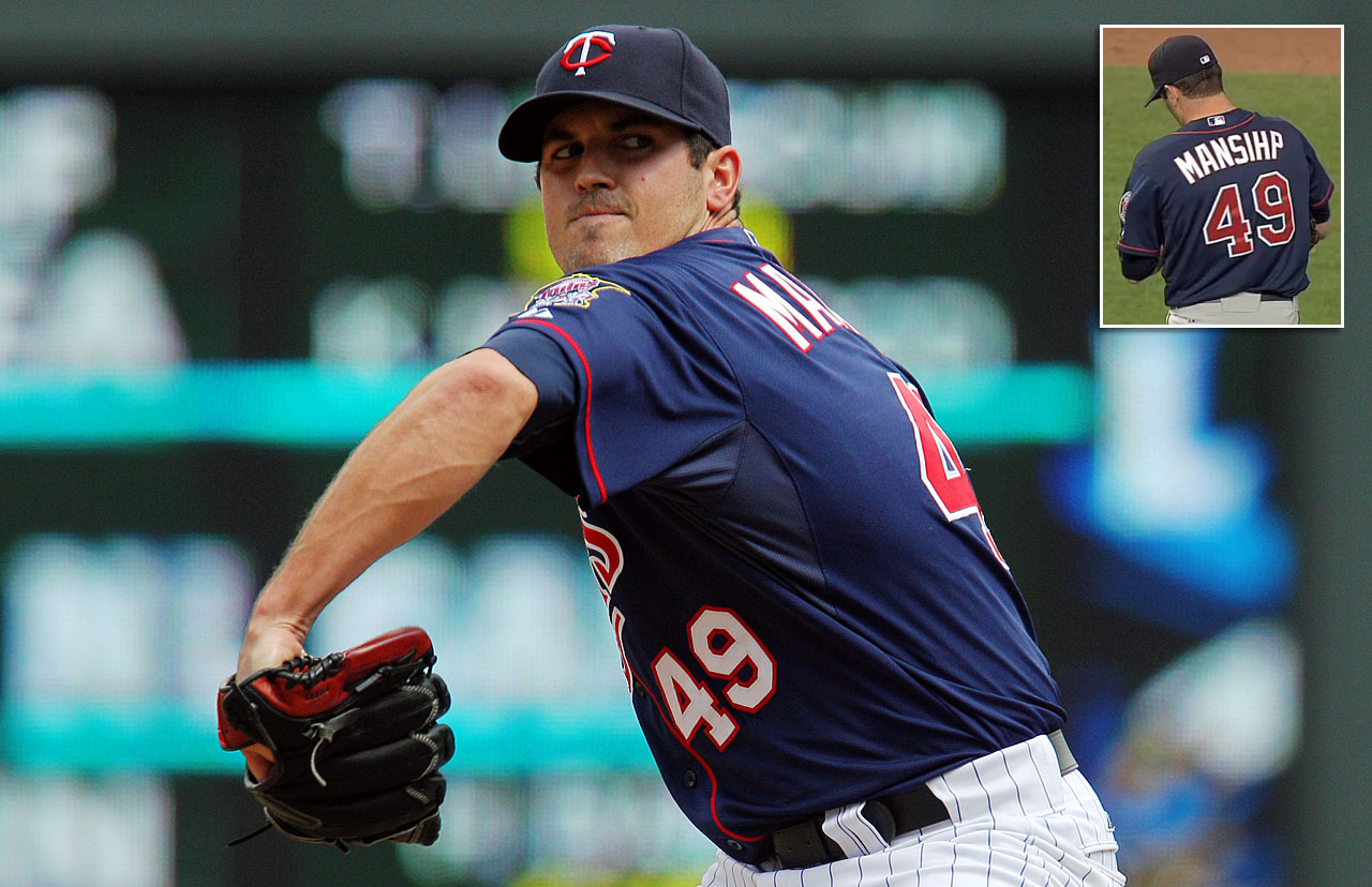 "Despite being laughed at for reasons unknown to him (like the ""H"" and ""I"" being switched on his jersey to spell ""MANSIHP"") while warming up in the bullpen, Twins reliever Jeff Manship pitched a scoreless inning in the Twins 4-2 win over the Royals on June 6, 2012."