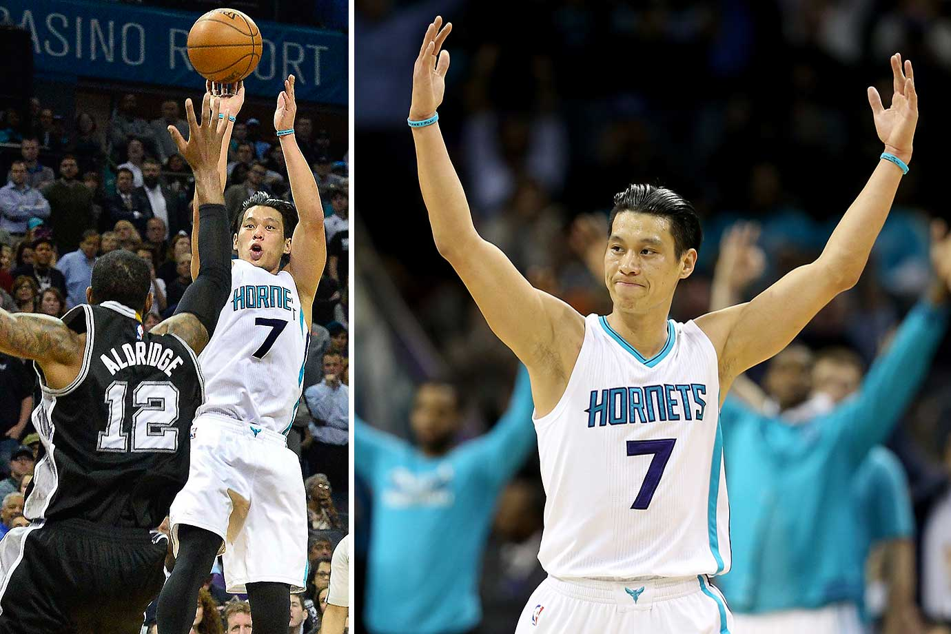 Jeremy Lin of the Charlotte Hornets reacts after making a basket in a 91-88 win over the San Antonio Spurs, who blew a 23-point lead.
