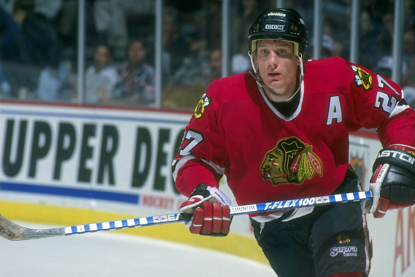 The flashy, outspoken center was drafted by the Blackhawks in the first round (eighth overall) in 1988 and he became one of the leaders of a revival that saw Chicago return to the Stanley Cup Final in 1992 for the first time in 19 years. He scored more than 100 points for Chicago in three straight seasons (1991-94) and posted two 50-plus-goal campaigns. After a series of injuries took their toll, he was dealt to the Phoenix Coyotes in 1996.
