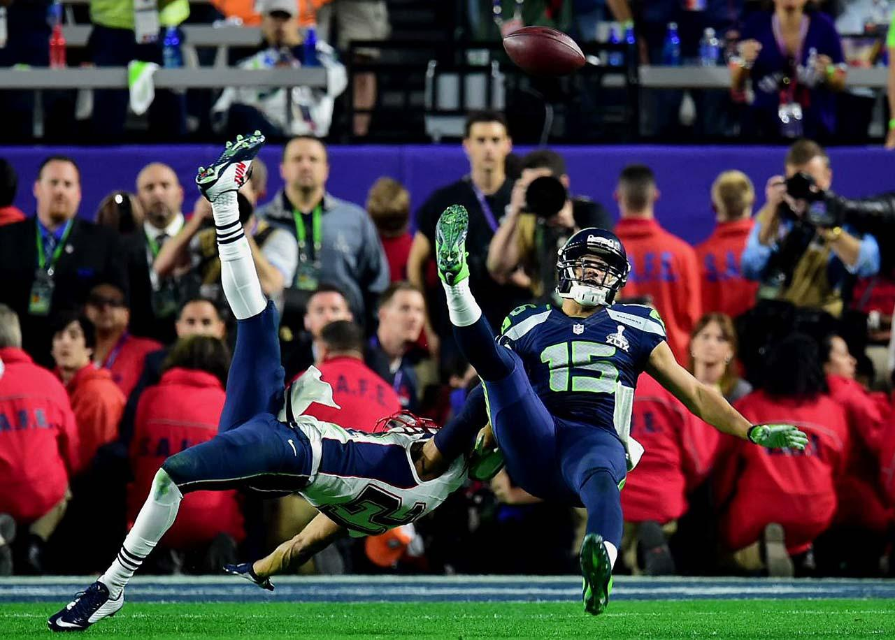 Just as the New York Giants got a miraculous catch by David Tyree in their Super Bowl upset of New England, Seattle got one from Jermaine Kearse that gave the Seahawks first-and-goal at the five with a little over a minute to go.  Kearse kept his eye on the ball and batted it around four times before pulling it in.