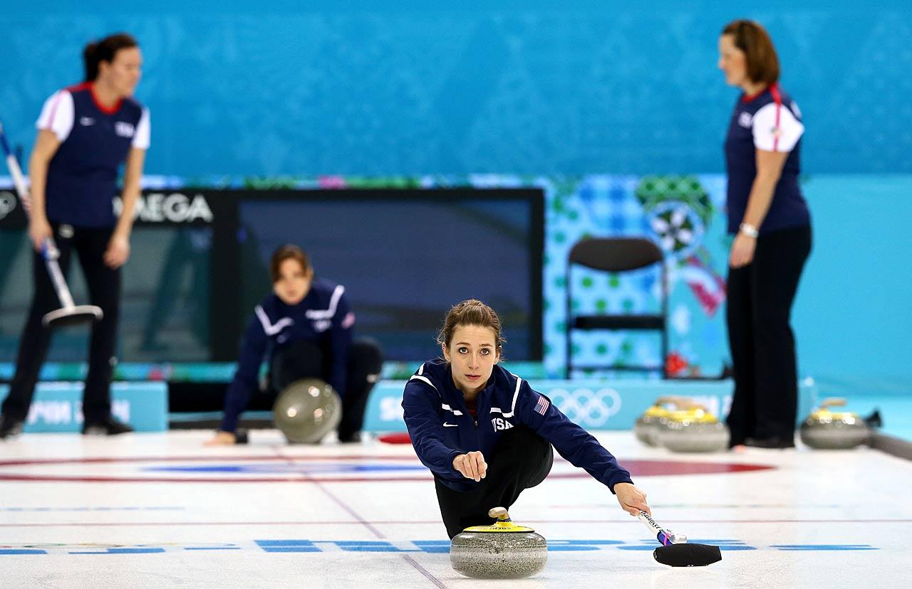 Jessica Schutz of the U.S. during curling training.