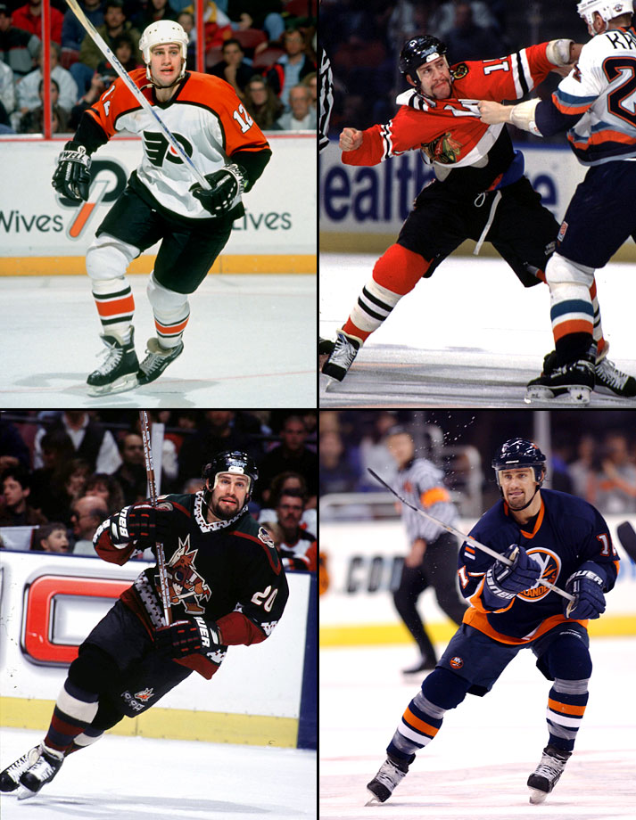 NY Rangers to Detroit (3/5/91), Detroit to Philadelphia (6/20/93), Philadelphia to Tampa Bay (3/18/94), Tampa Bay to Chicago (2/22/95), Chicago to Phoenix (3/4/98), Phoenix to Montreal (6/26/99), Anaheim to NY Islanders (1/14/02)