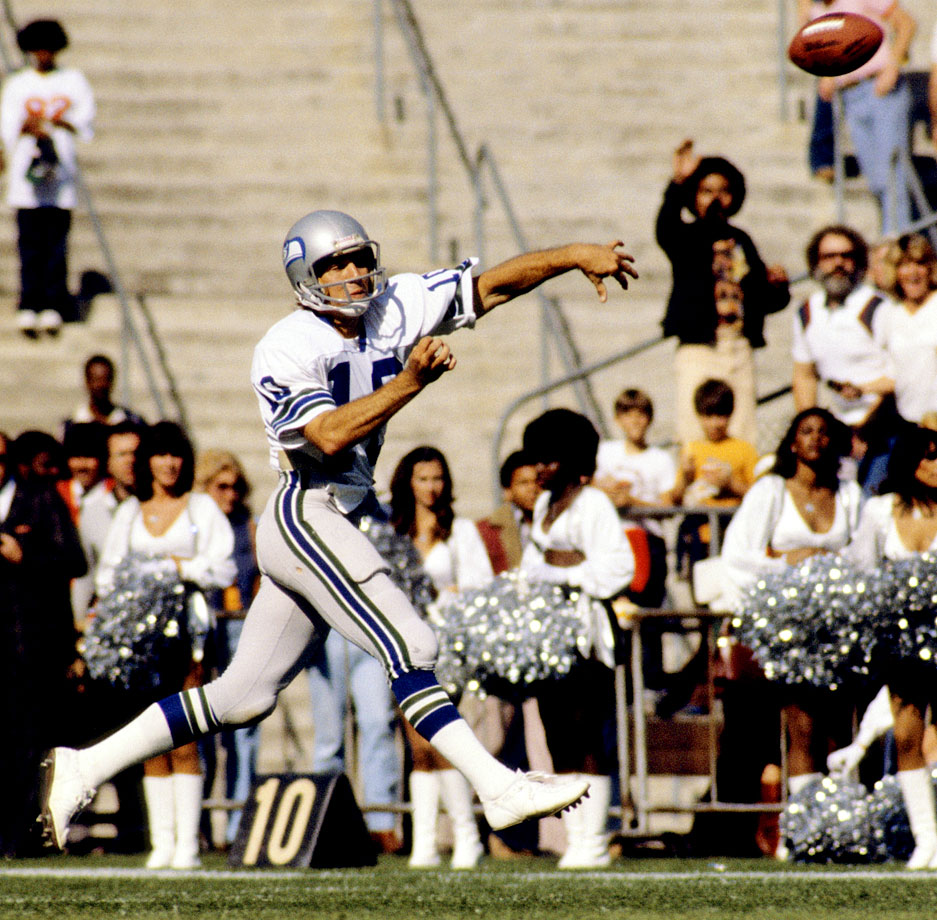 Zorn was Seattle's first quarterback, throwing for over 20,000 yards and 113 touchdowns from 1976 to 1984. The undrafted free agent from Cal Poly-Pomona added excitement to the Seahawks' early offensive adventures with a gambling, mobile style, and he led the NFL in yards per completion in 1977, with an impressive 16.2-yard average.