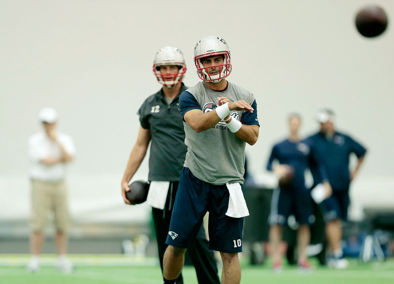 A second-round draft pick, Jimmy Garoppolo is the highest drafted quarterback by the Patriots since they took Drew Bledsoe No. 1 in 1993.  There's no way he's replacing Tom Brady this year, but will he be the heir apparent?